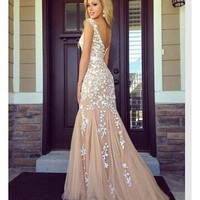 Women's fashion long dresses 2015 summer V-neck Floor-length backless elegant formal dresses sexy nightclub dress S M L XL = 1931703876