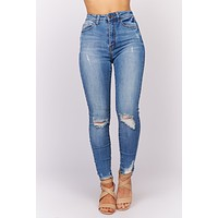 In A Mood Distressed Jeans (Medium Wash)