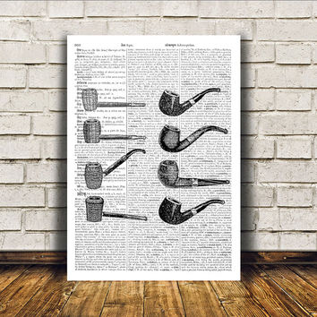 Smoking pipes poster Modern decor Vintage print Antique art RTA44