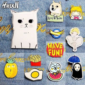 ac DCCKO2Q 2017 New Acrylic Brooches Pins Figure Simpson Fruit cartoon jewelry cute dog cat Broche shirt enamel pin