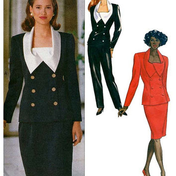 1990s Double Breasted Top w/ Oversized Shawl Collar Skirt Pantsuit Sewing Pattern Butterick 5054 Bust 34-36-38 UNCUT Vintage Business Career