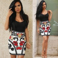 Fashion Sexy Summer Women Dresses Sleeveless Floral Dresses Pencil  Dresses Slim Fitted Black