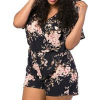 Women's Floral Plus Size Romper. (Large-4XL)