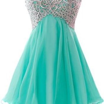 Fiesta Formals Short Chiffon Metallic Silver Embroidery Dress - Mint - 2XL