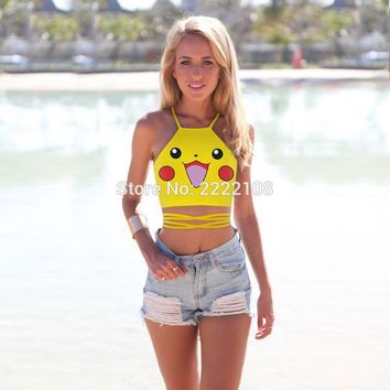 Pokemon Pikachu Cosplay Women's Squirtle AA style Bustier Crop Top Sexy Camisole 3D Bulbasaur Pokemon cartoon Print Cropped Top