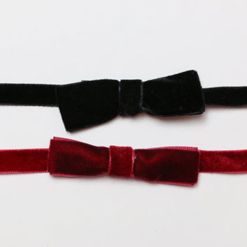 Burgundy Bow Choker - Velvet Bow Choker - gift for her - Simple Bow Choker - Choker Necklace - Minimal Choker - Fashion Jewelry - Trendy