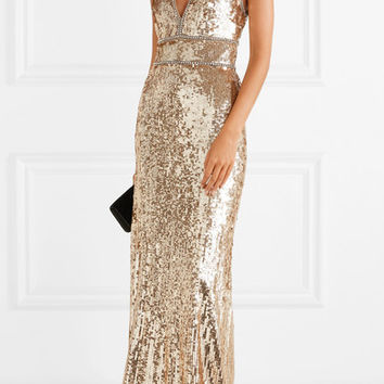 Jenny Packham - Oriel crystal-embellished sequined tulle gown