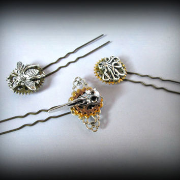 Steampunk hair pin-octopus hair pin-bird skull hear clip-hair fork-bee hair pin-gear charm hair pin-watch parts hair pin-set of 3