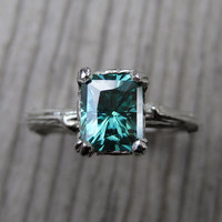 Green Emerald Moissanite Branch Engagement Ring: 1.25ct, Radiant Cut
