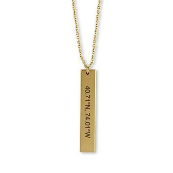 Vertical Rectangle Tag Necklace - Coordinates Silver (Pack of 1)