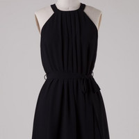 Simple Pleated High Neck Dress with Waist Tie - Black