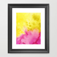 Pink & yellow , Abstract Watercolor Illustration.  Framed Art Print by Koma Art