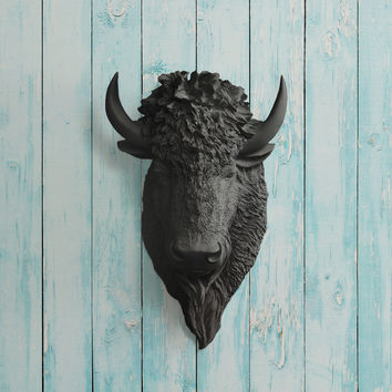 The Yellowstone Black Faux Bison Head
