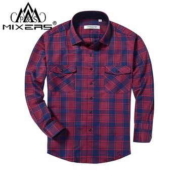 2018 Spring Autumn 2 Chest Pocket Men's Plaid Flannel Shirt Long Sleeve Regular Fit Men's Plaid Casual Shirt Men Clothes 2018
