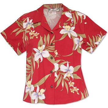 Bamboo Orchid Red Lady's Hawaiian Rayon Blouse