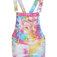 Sienna Multi Coloured Tie Dye Denim Dungaree Shorts
