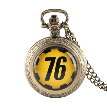 Quartz Pocket Watch FALLOUT 76 Game Theme Creative Retro Bronze Clock Pendant Necklace Chain Male Female +Watch Box Best gifts