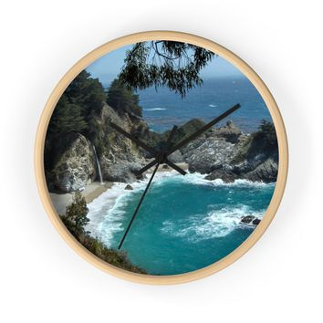 Turquoise Wall Clock: Waterfall photo; ships free from PonsArt $59.95