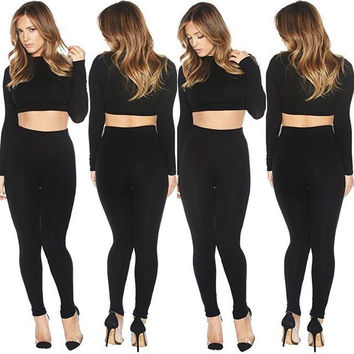 Winter Women's Fashion Long Sleeve Tops High Rise Pencil Pants Pants Black Set [4919588292]