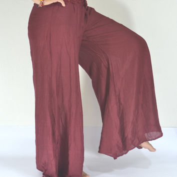 Thai Handmade/Long Dark Red Pants/Harem Pants/Yoga/Elegant pants/Crochet waist/elastic waist/Comfortable wear fit most/Gypsy Pants/Trouser