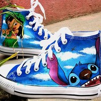 Stitch anime Lilo Stitch shoes custom converse shoes Lilo & Stitch Hand Painted Conver