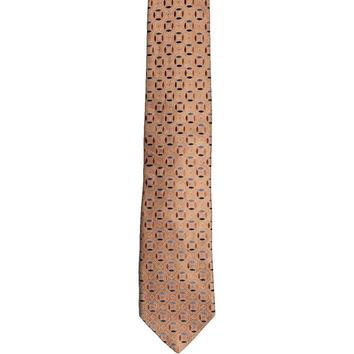 Metropolitan View Foulard Design Wide Silk Tie - Orange
