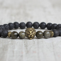 African bracelet Lion men bracelet obsidian lava stone husband gift valentines for him birthday gift grunge bracelet gifts for guys hipster