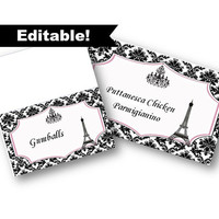 Editable Paris Food tent cards and flat labels - edit yourself in Word - Paris Eiffel Tower Party Decor Accessories