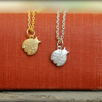 Tiny Ladybug Necklace, Available in Silver or Gold