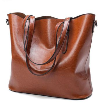 PU Oil Wax Leather Large Capacity Shoulder Bags
