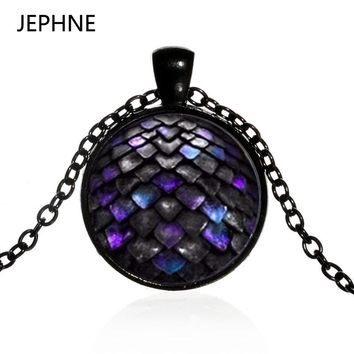 JEPHNE Vintag New Mermaid Fish Scale Dragon Charm Pendant Necklace Glass Cabochon Xmas Gift Jewellery for Women