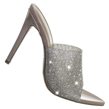 Carmy07 Rhinestone Pointed Open Toe Mule - Women High Heel Slip On Jewel Slipper