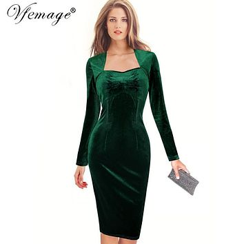 Vfemage Women Autumn Winter Sexy Elegant Velvet Long Sleeve Ruched Vintage Wear To Work Party Cocktail Bodycon Sheath Dress 8140