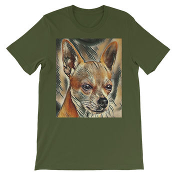 Chihuahua Dog Art Print Unisex short sleeve t-shirt