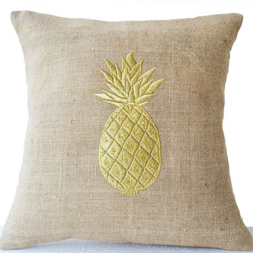 Burlap Pillow Covers with Pineapple Embroidered- Gold Pillows- Pineapple Pillows- 16x16- Modern Decor- Chair Pillow- Couch Pillows- Cushions