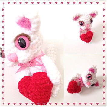 Amigurumi Cat Crochet Cat Crochet Valentine's Day Heart Crochet Doll Plush Stuffed Animal Kawaii Cat White Cat Valentine's Day Gift Ideas