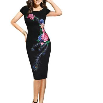 Gamiss Elegant Vintage Dress Women Fashion Floral Flower Peacock Printed Slim Pinup Casual Party Office Sheath Bodycon Dress