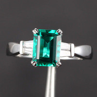 Emerald Cut Emerald Engagement Ring VS Baguette Diamond Wedding 14K White Gold 6x8mm  Claw Prongs