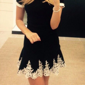 Black Short Sleeve Crochet Lace Accent Mini Dress
