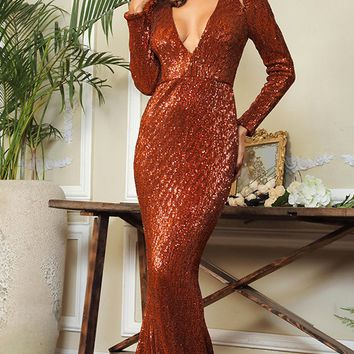 Dangerous Lover Dark Orange Sequin Long Sleeve Plunge V Neck Cut Out Mermaid Maxi Dress