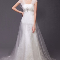 Bridal Tulle and Lace Trumpet Wedding Gown Sweeping Train