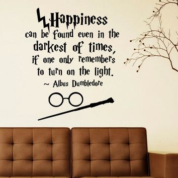 Albus Dumbledore Happiness Can Be Found Humor Philosophy Quotes Wall stickers,Harry Potter magic wand art for nursery decor