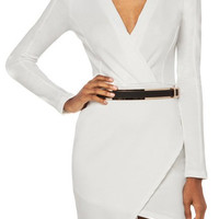 V-Neck Long Sleeve Asymmetric Dress with Belt