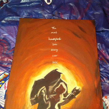 Disney Beauty and the Beast inspired 16x20 Canvas Painting