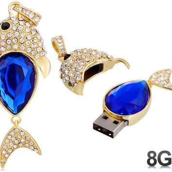 Crystal Decorated Fish Design 8GB USB Flash Drive (Blue)