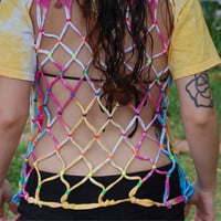 Tie-Dye Fishnet Backless T-Shirt