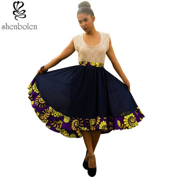 2016 summer spring autumn African chiffon Irregular skirt Party skirt chiffon stitching Batik fashion skirt ankara clothing
