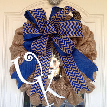 Kentucky Wildcats Chevron Burlap Wreath, UK wreath, University of Ky Wreath, Wildcat Wreath, Chevron Wreath