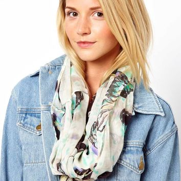 New Look Graphic Butterfly Snood Scarf