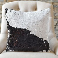 Bold Black & White Sequin Mermaid Pillow